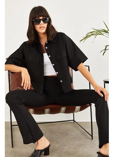Sortee Kadın Çift Cepli Yarım Kol Gömlek  Siyah